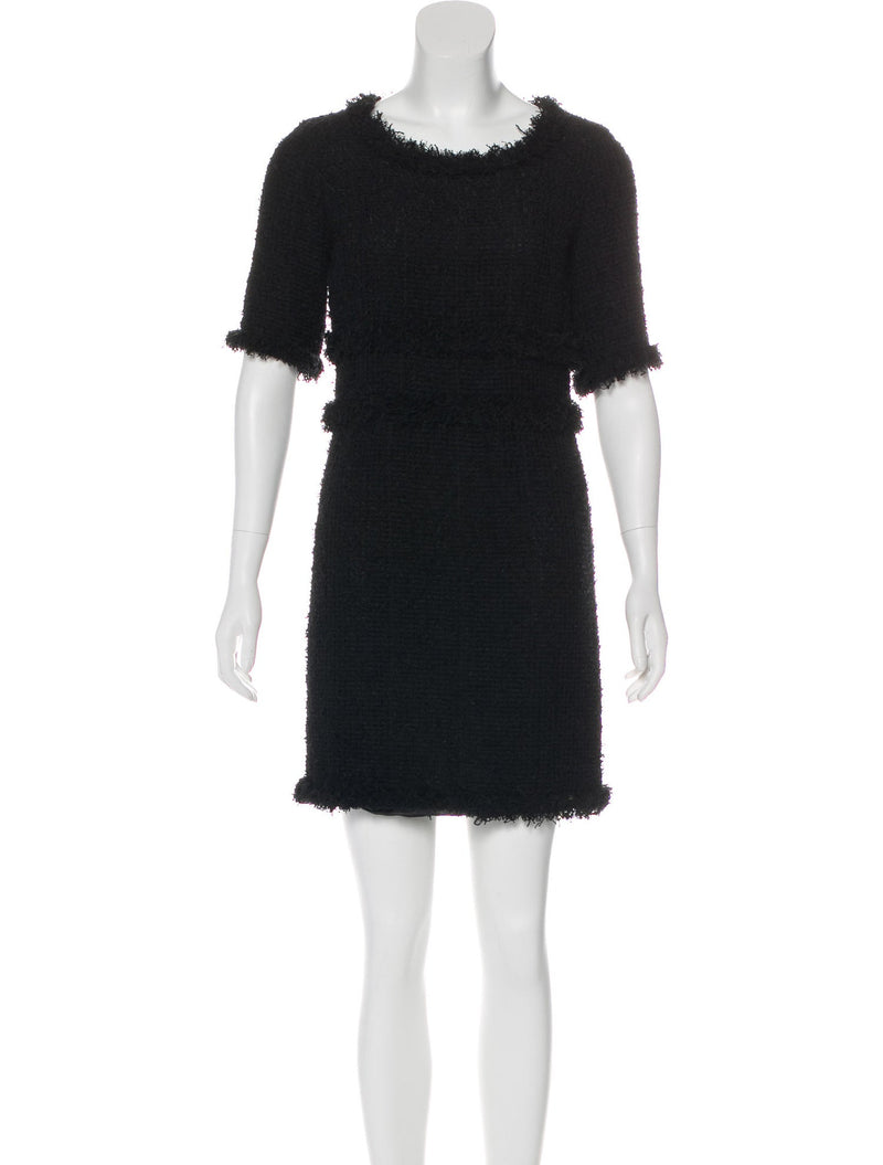 CHANEL 10S Alexa Chung Cotton Ivory or Black Boucle Dress 34 40 シャネル アイボリー ブラック・ワンピース