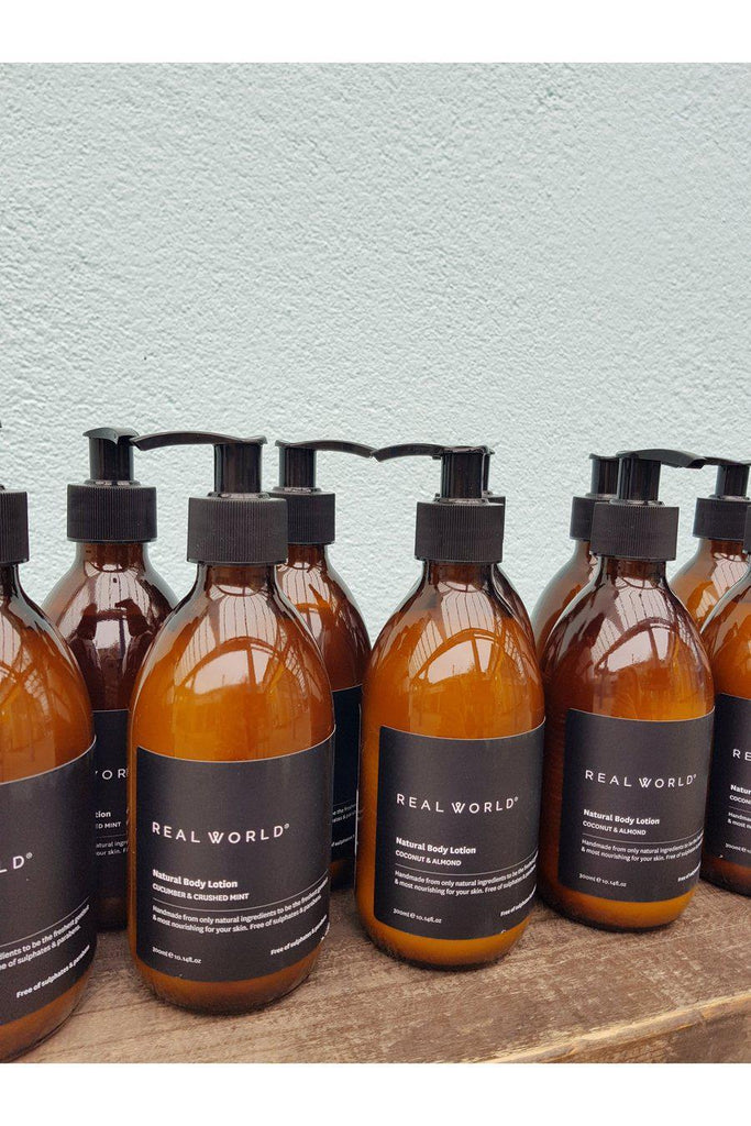 Real World Body Lotion 300ML Amber Glass Bottle