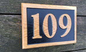 Reverse Engraved House Number House Sign 250 x 150mm