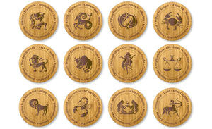 Star Sign Bamboo drinks Coasters All 12