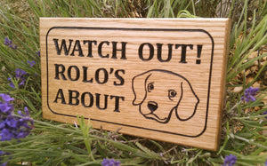 Extra Small House Sign saying watch out rolos about with dog face FONT: CAMBRIA