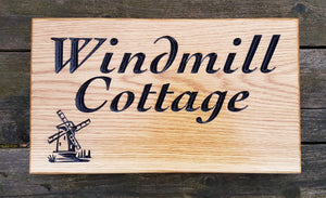 House Sign - Large - 380 x 220mm - Bramble Signs Engraved Wall Mounted & Freestanding Oak House Signs, Plaques, Nameplates and Wooden Gifts FONT: COCHIN BOLD ITALIC