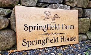 House Sign - Triple Extra Large - 720 x 400mm - Bramble Signs Engraved Wall Mounted & Freestanding Oak House Signs, Plaques, Nameplates and Wooden Gifts FONT: COCHIN