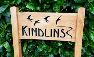 Medium Ladder Sign engraved with thte Kindlings and swifts flying