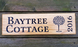 House Sign - Long Thin - 380 x 110mm - Bramble Signs Engraved Wall Mounted & Freestanding Oak House Signs, Plaques, Nameplates and Wooden Gifts FONT: LATIENNE
