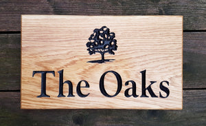 House Sign - Large - 380 x 220mm - Bramble Signs Engraved Wall Mounted & Freestanding Oak House Signs, Plaques, Nameplates and Wooden Gifts FONT: GOUDYOLD