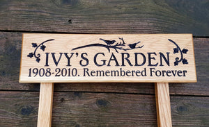 Ladder Sign - Extra Small - 380 x 110mm - Posts 28 x 28 x 450mm - Bramble Signs Engraved Wall Mounted & Freestanding Oak House Signs, Plaques, Nameplates and Wooden Gifts