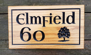 House Sign - Large - 380 x 220mm - Bramble Signs Engraved Wall Mounted & Freestanding Oak House Signs, Plaques, Nameplates and Wooden Gifts FONT: LIBERTY
