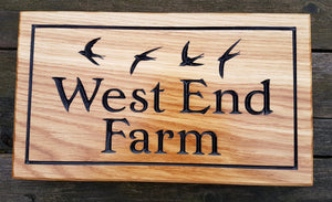House Sign - Large - 380 x 220mm - Bramble Signs Engraved Wall Mounted & Freestanding Oak House Signs, Plaques, Nameplates and Wooden Gifts