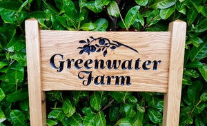 Medium Ladder Sign engraved with greenwater farm and apple branch