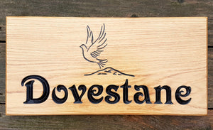 House Sign - Extra Large - 500 x 220mm - Bramble Signs Engraved Wall Mounted & Freestanding Oak House Signs, Plaques, Nameplates and Wooden Gifts FONT: VICTORIAN