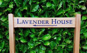 Ladder Sign - Long Thin - 720 x 110mm - Posts 45 x 45 x 915mm - Bramble Signs Engraved Wall Mounted & Freestanding Oak House Signs, Plaques, Nameplates and Wooden Gifts