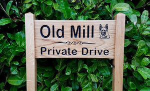 Medium Ladder Sign the old mill private draive and an alsation image