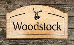 Extra Large Arch Shaped House Sign with a border and picture os a stag