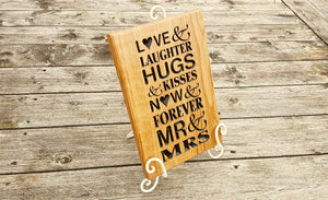 Large Oak Engraved Mr & Mrs Wedding Plaque - 300 x 200mm - Bramble Signs Engraved Wall Mounted & Freestanding Oak House Signs, Plaques, Nameplates and Wooden Gifts