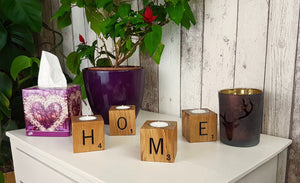 Solid Oak Engraved Scrabble Tea Light Holders - Bramble Signs Engraved Wall Mounted & Freestanding Oak House Signs, Plaques, Nameplates and Wooden Gifts