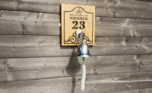 Beautiful Solid Oak Engraved Sign With Chrome Hanging Ship Bell - Bramble Signs Engraved Wall Mounted & Freestanding Oak House Signs, Plaques, Nameplates and Wooden Gifts FONT: MYRIAD & LATIENNE