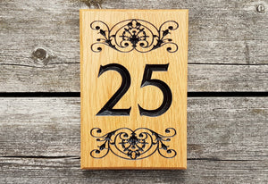 Number Sign - Medium - 150 x 225mm - Bramble Signs Engraved Wall Mounted & Freestanding Oak House Signs, Plaques, Nameplates and Wooden Gifts