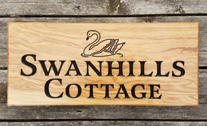 House Sign - Extra Large - 500 x 220mm - Bramble Signs Engraved Wall Mounted & Freestanding Oak House Signs, Plaques, Nameplates and Wooden Gifts FONT: LATIENNE