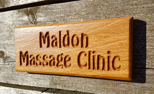 Extra Small Dinky House Sign maldon massage clinic FONT: HOBO