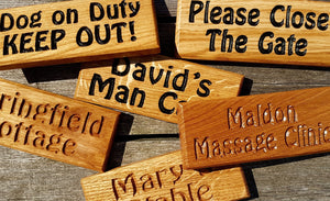 Dinky House Signs all made from solid oak, available in multiple finishes and multiple fittings FONT: HOBO