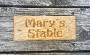 Dinky House Sign marys stable FONT: HOBO