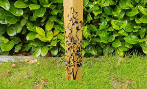 Oak bollard post with Floral engraving