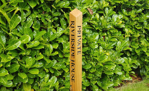 Solid Oak Engraved Bollard Post Made from Prime grade Timbers