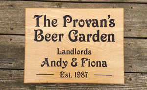 The Provans Beer Garden House Sign FONT: VICTORIAN