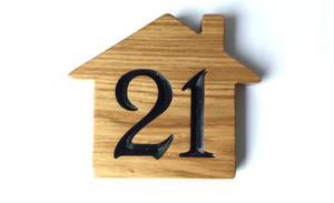 Home is where the heart is shaped house sign, 21 Number house sign