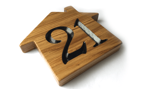 House Home Shape House Sign Solid Oak Name Plaque Number Plaque