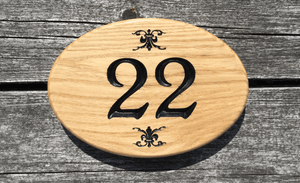 Number 22 Oval Solid Oak Number sign made from solid oak, mural designs on top and bottom