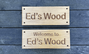 Eds Wood Natural signs with screw holes
