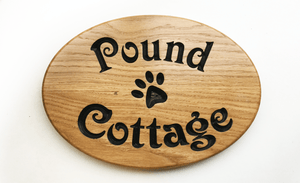 Pound cottage Paw Print Oval House Sign