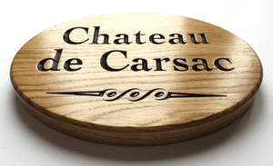 Chateau de Carsac 280x200 Solid Oak Oval House Sign
