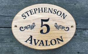 28x20cm Oval Shaped Solid Oak House Plaque