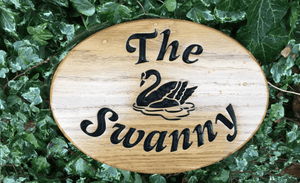 The Swanny Swan Engraved Oval House Sign
