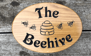 The Beehive Bee's Solid Oak Engraved Sign
