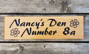 Nancys Den Sign With Flower Design FONT: PALETTE