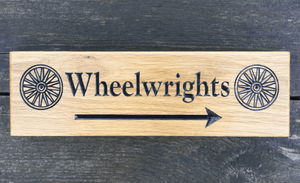 Wheelwrights 380x110 arrow solid oak house sign