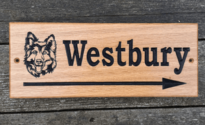 Westbury German Shepard Arrow Sign on a 380x150