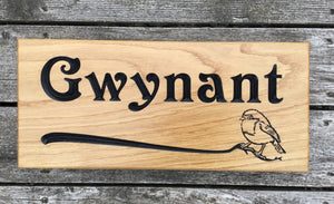 Gwynant, Holy Stream Welsh Solid Oak 380x150 wooden house sign