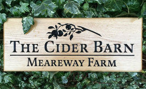Cider Barn Mearway Farm 380x150 Solid Oak Wooden House Sign