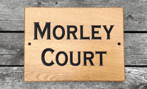 Morley Court 400x300 Large rectangular house sign FONT: COPPERPLATE