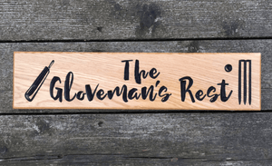 The Glovemans Rest Cricket bat Wicket and ball House Sign for Sportfans