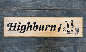 High-burn Geese Pond 500 x 110 House Sign