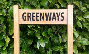 GREENWAYS solid oak free standing inter-medium sized ladder sign FONT: Arial Narrow
