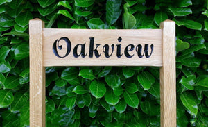 OAKVIEW solid oak 500x150 free standing inter-medium sized ladder sign FONT: Goudy Italic