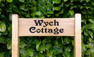 Wych Cottage 500x150mm solid oak free standing inter-medium sized ladder sign FONT: Victorian