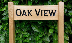 Oak View Solid Oak Free Standing Medium Ladder Sign 500x150mm FONT: Copperplate
